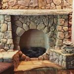 Circular stone fireplace