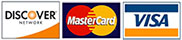 We accept Discover, MasterCard, and Visa credit cards